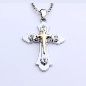 Other - Layered silver and gold STAINLESS STEEL Cross